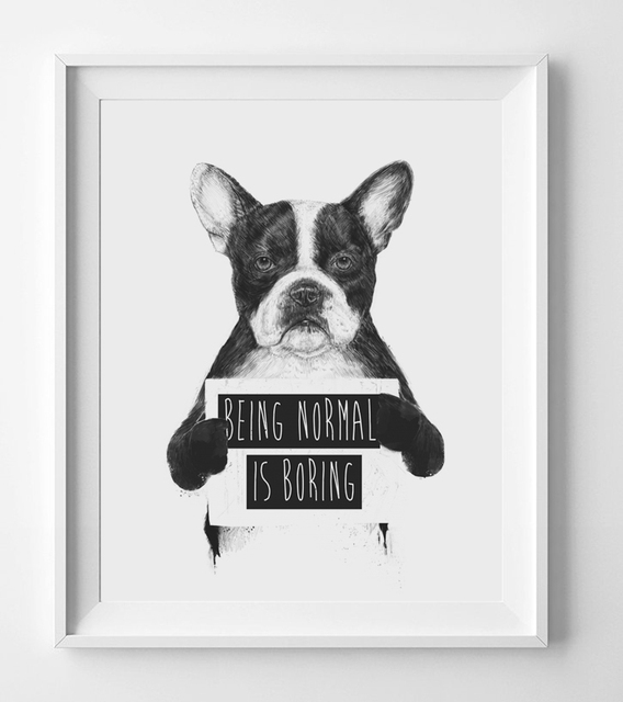 Being Normal Is Boring Quotes Wall Art Nursery Decor French Bulldog  Watercolor Wall Art Print Animal