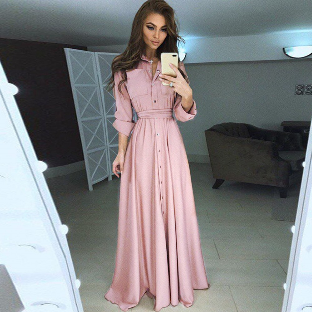 Women Silk Long Dress Black Pink Shirt Tunic Elegant Casual Maxi Dresses  Office Holiday Party Sexy Pocket Beach Dress-in Dresses from Women s  Clothing on ... a7de8c3c21a1