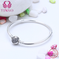 100% 925 Silver Trendy Love Heart Pave CZ Snake Chain Bracelets Fit for European Charms Beads DIY Jewelry Making for Women Gift
