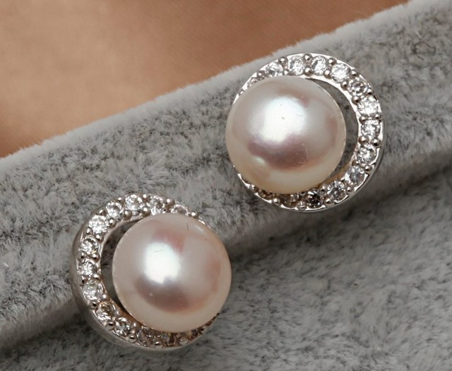 8 9mm Size Natural Real Pearl Earrings Cultured Wedding Bridal Stud Freshwater Fashion