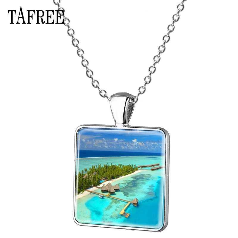 Collar de imagen TAFREE Bali paisaje vista romántica Scenic spot collar con colgante cuadrado cadena larga gran oferta joyería FA310