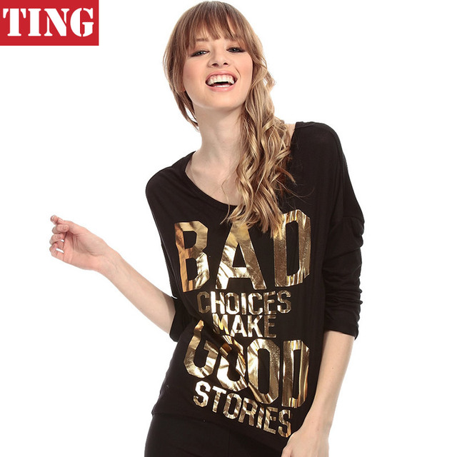 Black Novelty Gold Letters Print Back Hollow Out Women T Shirt Brand