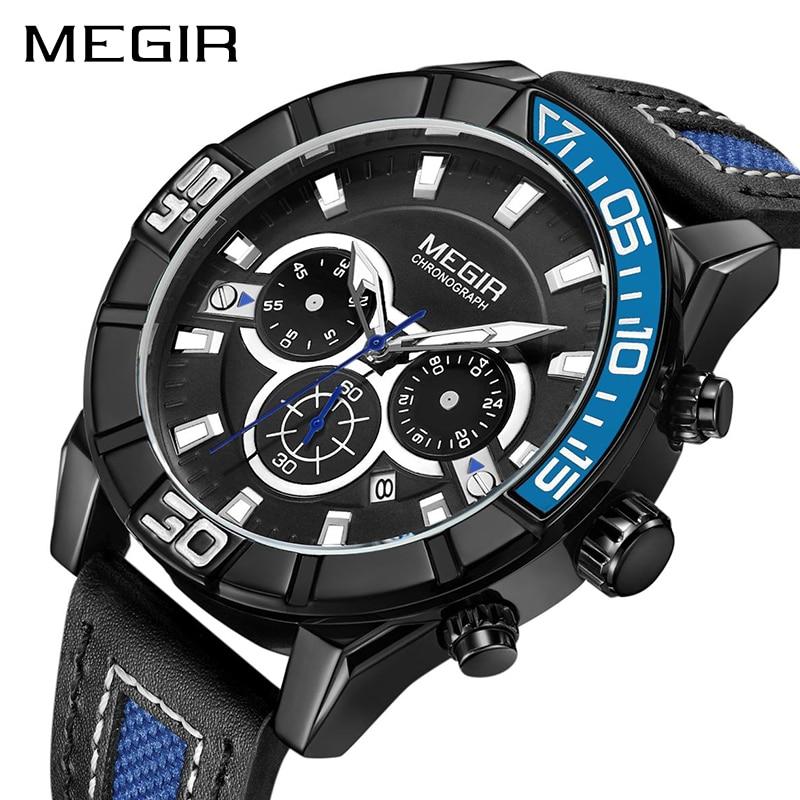 MEGIR Chronograph Men Sport Watch Creative Fashion Army Military Quartz Wrist Watches Clock Men Relogio Masculino ML2066 Saat цена