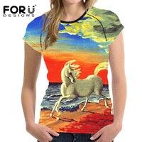 FORUDESIGNS Bunte 3D Pferde Griff T-shirt Frauen Sommer grundlegende T-shirt O Hals Atem Frau Tops Tees Shirts Für mädchen