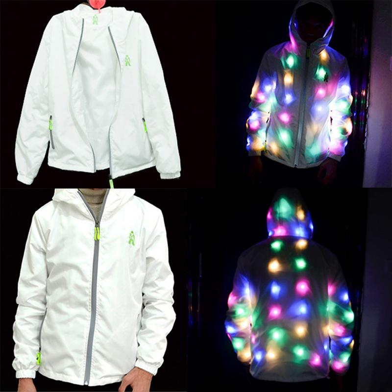 Men Women LED Coat Colorful Glow Stage Performance Party Hooded Adult Light clothes jacket ordinary stage wear solid Cotton