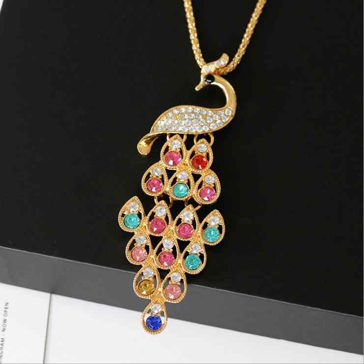 Clearance Sale Multicolor Crystal Peacock Long Statement Necklaces Brincos Sweater Necklace Mujeres Bijoux Jewelry Gift N5051