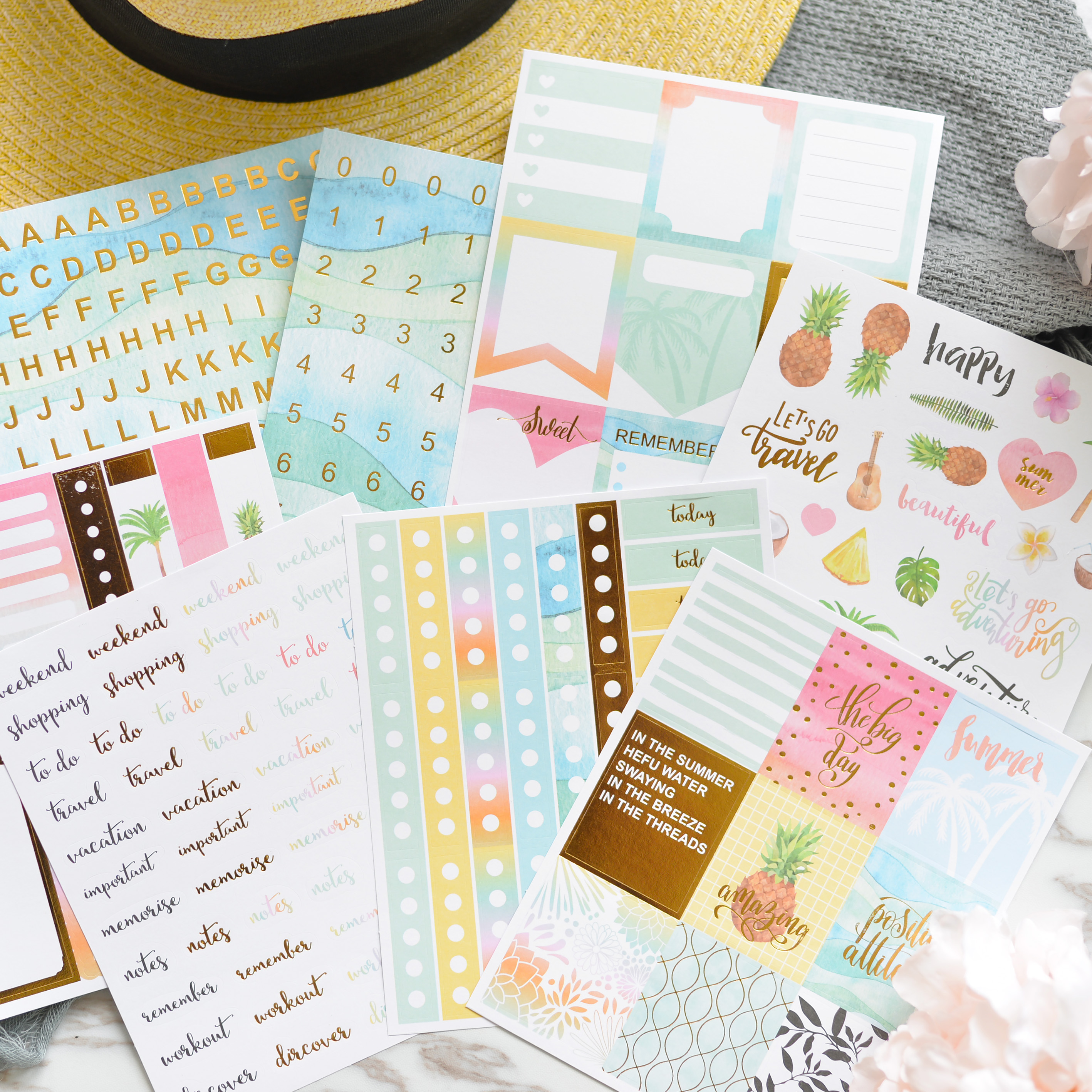8pcs New Bronzing color Fruits/Letter/number/date/words daily weekly  Decorative Stickers DIY Scrapbooking Diary Stickers Escolar