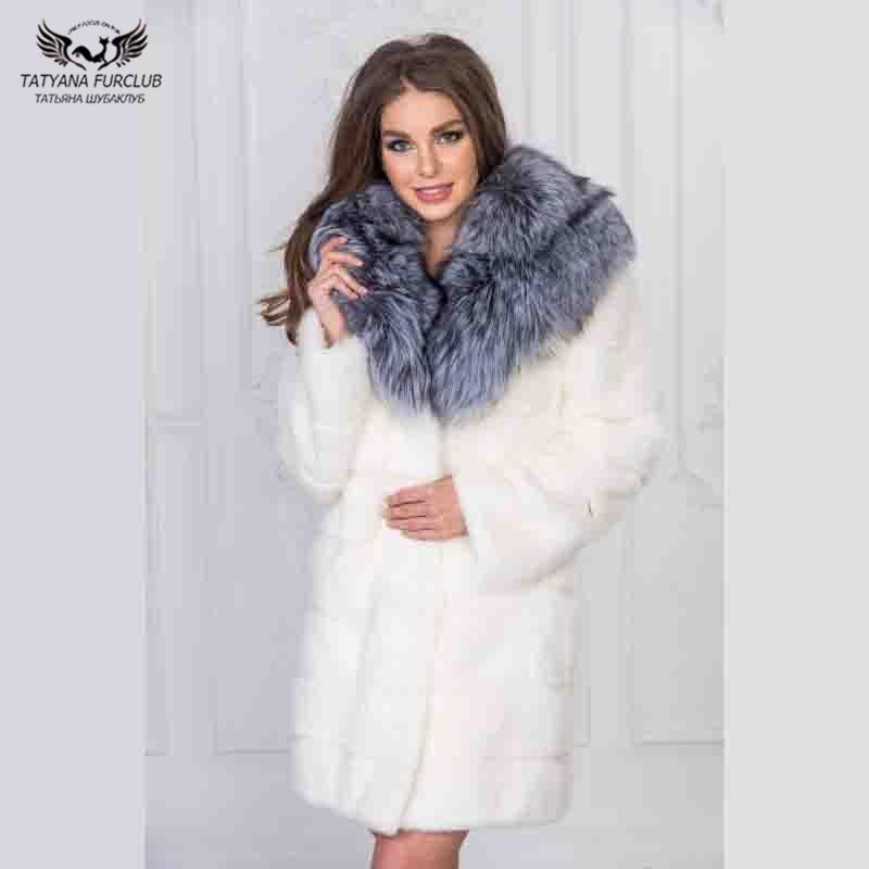 Naturelle Robe Mince Réel Blanche Hiver De Ruban Fourrure Long Avec Vison Dame Renard Col Femmes Manteau Outwear Veste XwAZqAWt