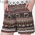 Calções Mulheres Do Vintage Estilo Étnico Boho Cópia Floral Shorts Ocasionais das Mulheres Largas Elásticas Shorts de Cintura Alta