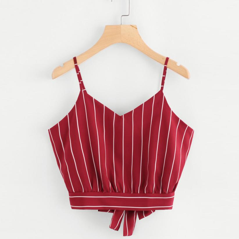 JAYCOSIN Tops womens tank tops Back V Neck Striped crop top Self Tie Cami Camisole Blouse Dropshipping Jun1