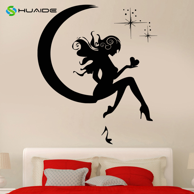 wall sticker vinyl decal gadis peri bulan bintang mimpi remaja