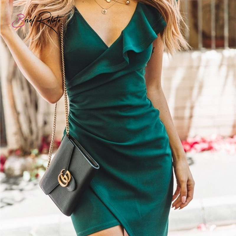 Brief Relate Sexy Ruffles Deep V neck Mini Dress Strap Women Summer Irregular Fit Party Club Dress Backless Short Dress in Dresses from Women 39 s Clothing