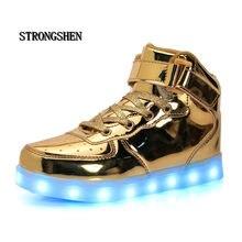 Strongshen sapatos infantis, sapatos para crianças, casuais e meninos, meninas, com carregador usb, luz, dourado, 2018 prata