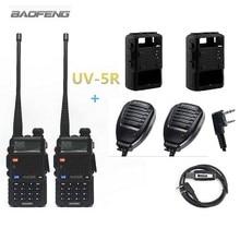 2 шт. Baofeng UV-5R Портативная рация радио Наборы для ухода за кожей + 2 шт. Baofeng Динамик микрофон + 2 шт. силикон чехол + 1 шт. программирования кабель