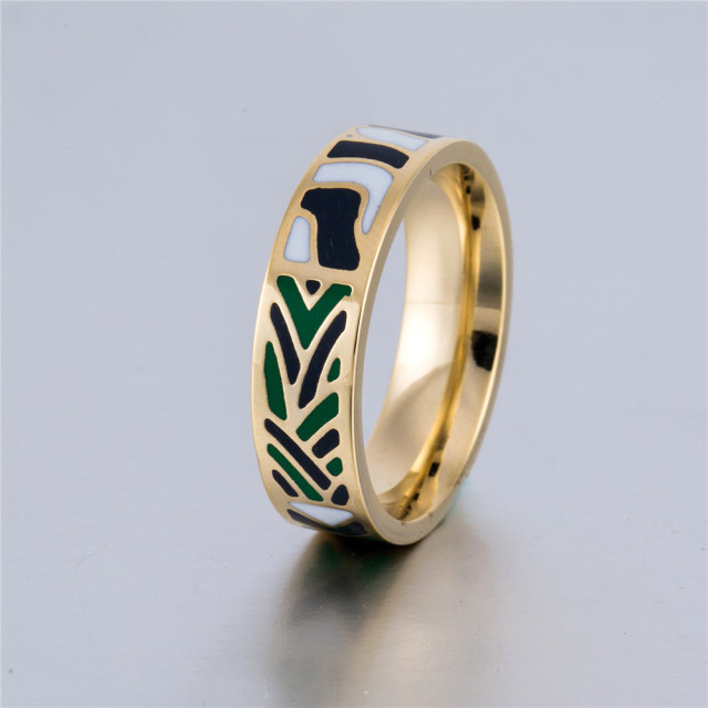 ring vintage antique enamel unisex rings jewelry diamond gold black