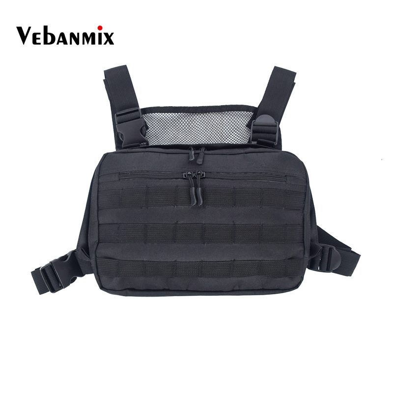 2bd42188ba43 Hot Black Men Chest Bag Adjustable Oxford Tactical Chest Rig Hip Hop  Streetwear Functional Shoulder ...
