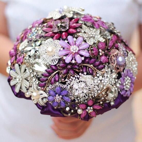 Purple & Wine Brooch Bouquet Wedding Bridal Bouquets Crystal Pearl Flower Bride 's Bouquet Bridesmaid  Decor Vine Bouquets