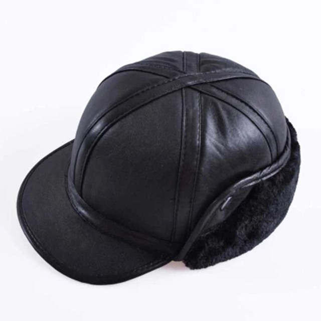 2018 Winter Autumn Mens Sheepskin Leather Cap Warm Hat Baseball Cap With Ear Flaps Russia Genuine Leather Hats For Men