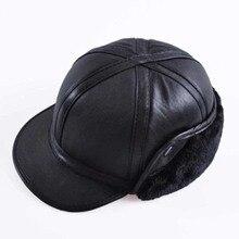 2018 Winter Herbst Herren Schaffell Leder Kappe Warme Mütze Baseball Kappe Mit Ohren Klappen Russland Echtem Leder Hüte Für Männer