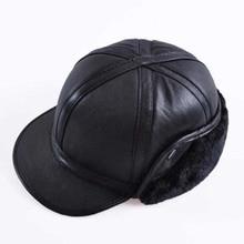 2018 kış sonbahar erkek koyun derisi deri kap sıcak şapka beyzbol şapkası kulak flep ile rusya hakiki deri şapka erkekler için