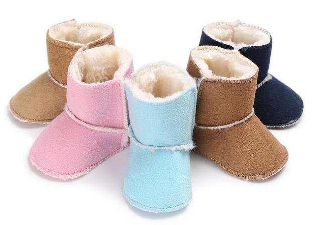 2018 new solid winter fabric cotton baby boots baby hookloop warm baby boys girls soft non-slip bottom shoes sole baby boots