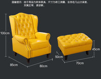 oil wax genuine leather sofa living room chair recliner home furniture modern American Country leisure chair for leather buttons