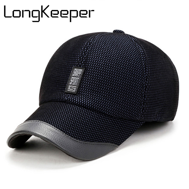 Long Keeper 2017 Warm Winter Baseball Cap Men Brand Snapback Black Solid Bone Baseball Mens Winter Hats Ear Flaps OT19 sute arrivals warm winter baseball cap men brand snapback solid bone baseball mens winter hats casual hat adjuatable brand