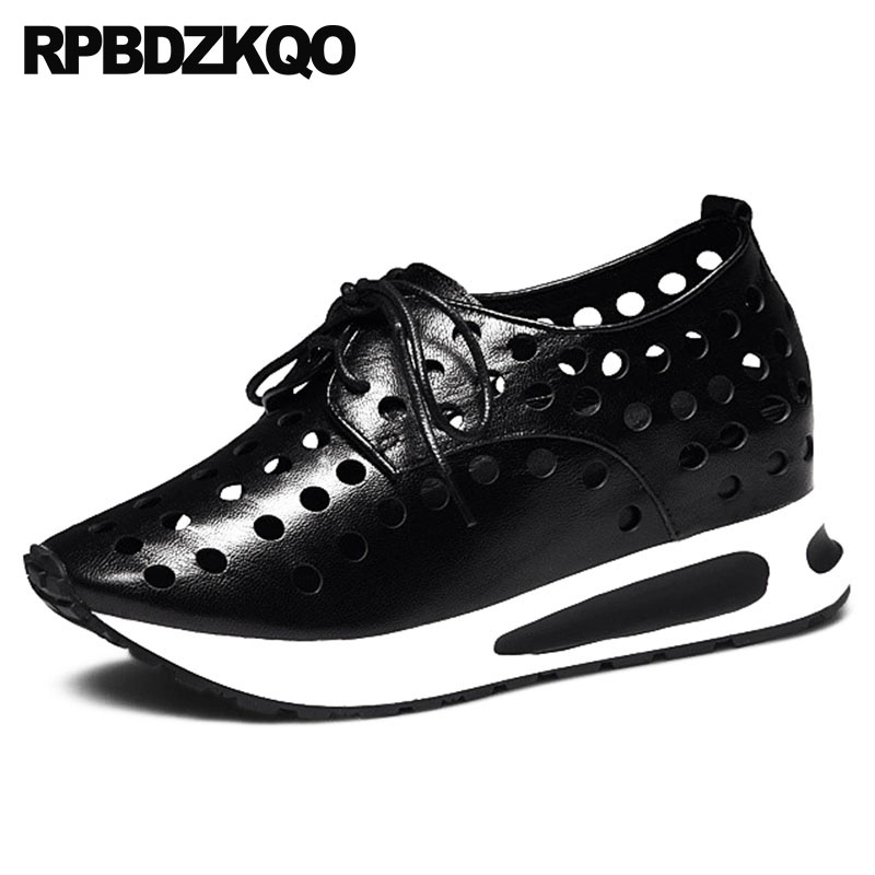 Qualité Évider Sneakers De Hauteur Appartements Chaussures Croissante Formateurs Noir blanc Respirant Sandales Femmes Ascenseur Haute Designer 2018 Luxe pGqUSVMz
