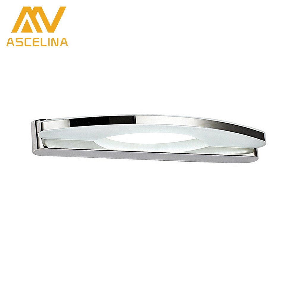 ASCELINA Mirror Front Lamp led wall light Wall Mounted bathroom mirror sconce stainless steel lamps for home 15W/17W/19W 85-260V dvolador luxury crystal led mirror front light 10w 15w ac110 220v bathroom waterproof anti fog led stainless steel wall light