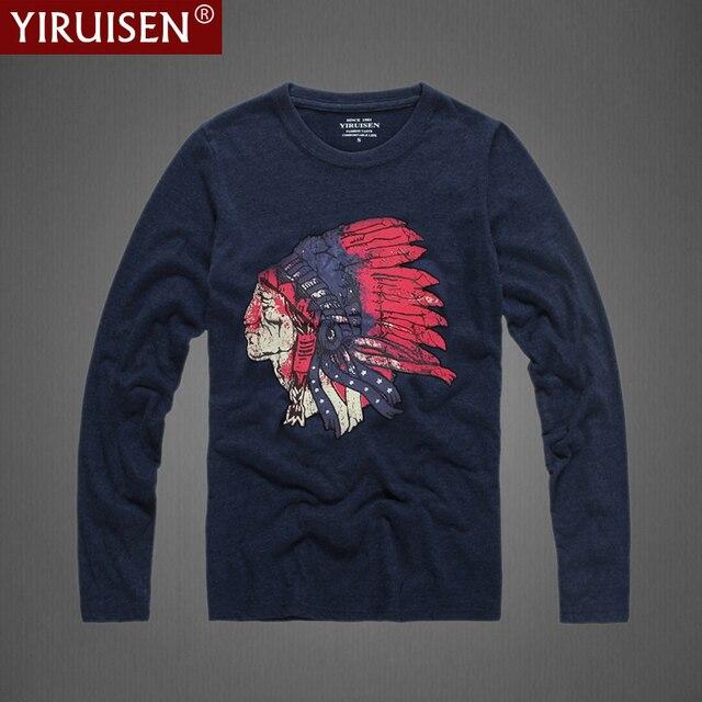 YiRuiSen Brand Clothing Индийский Стиль Мода Футболка С Длинным Рукавом мужчины 100% Хлопок T-shirs Весна Осень Случайные Футболки мужчины