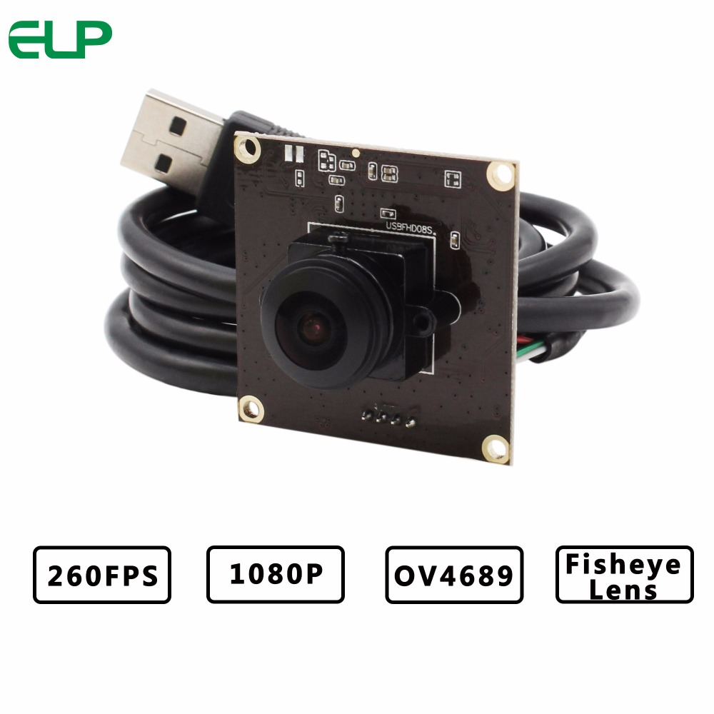 ELP 2MegaPixels OV4689 CMOS 180degree Fisheye Lens Circuit Board Module HD 720P 120fps Camera USB For 360 Camera best quality 5mp aptina cmos 180degree fisheye lens usb 2 0 webcam cctv usb board camera module