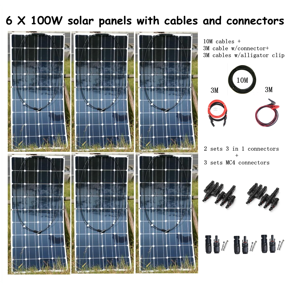 6*100W Solar Panel with Cable + 2 Pair 3 in 1 Connectors + 3 Pair MC4 Connectors Houseuse 600W Solar System 100w folding solar panel solar battery charger for car boat caravan golf cart