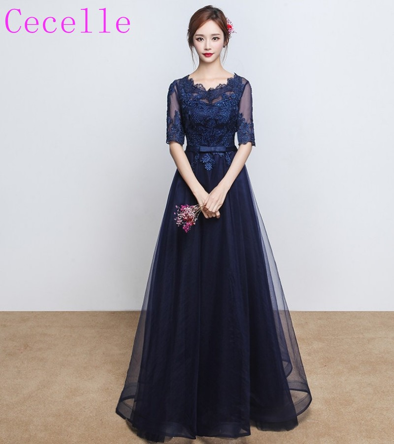 כחול כהה זול ארוך השושבינות שמלות עם שרוולים חצי תחרה טול מוכן ספינה במלאי נמוך שמלת מסיבת חתונה מחיר