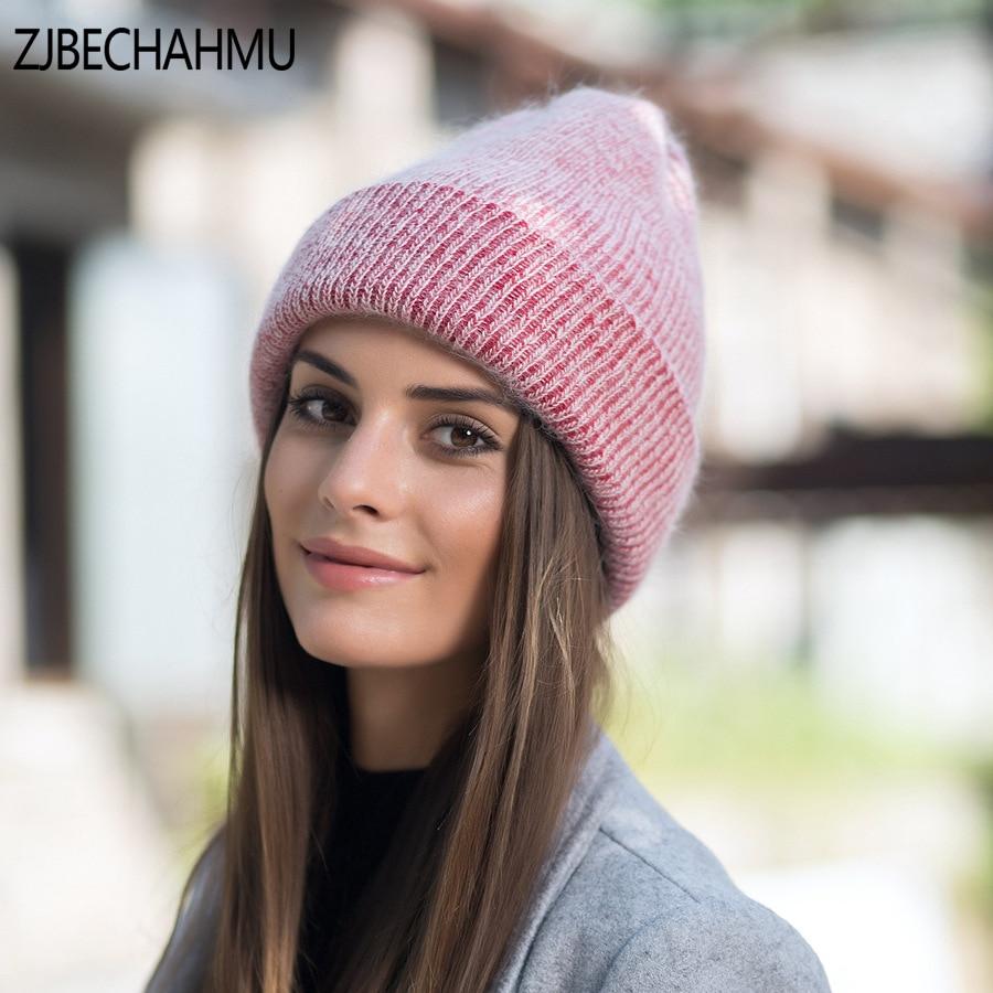 Spring Fashion Solid Rabbit   Skullies     Beanies   Hats For Women New Winter Girl Silk Bonnet Outdoor Jamaica Gorras Snapback Hats