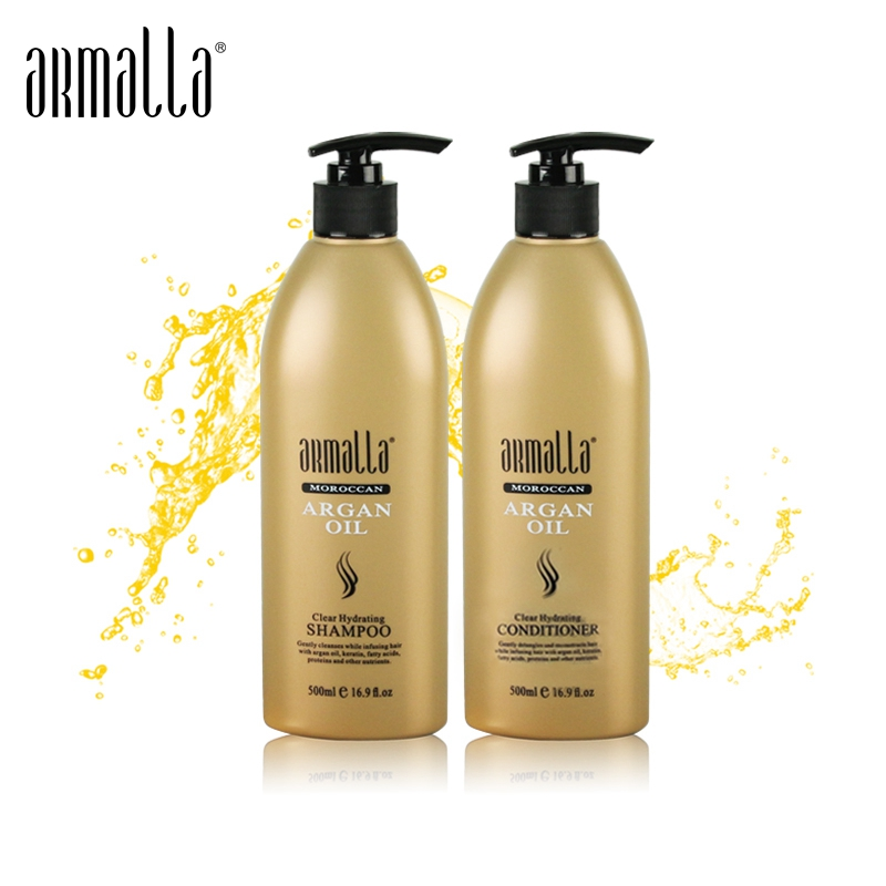 High Grade Superior Armalla 500ml Moroccan Argan Oil Clear Hydrating Shampoo and Conditioner For Dry Damage Hair care Products image