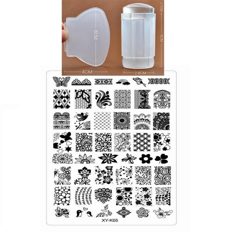 9.5x14.5cm Estampado de esmalte XY-K Diseño Skull Wolf Copos de - Arte de uñas