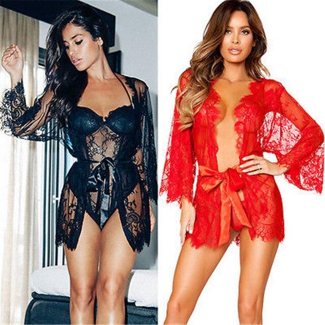 650fc6e670 GLANE 2017 Women Lace Sexy-Lingerie Nightwear Underwear G-string Babydoll  Sleepwear Dress Beach Cover Ups