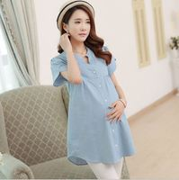 100% Cotton Women Maternity Tops Summer Broadcloth Casual Shirts Tees Pregnant Clothing Short-sleeve Solid Big Size Blouse