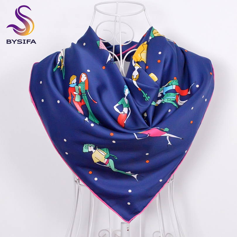 [BYSIFA] Winter Character Navy Blue Women Twill Square Scarves Wraps New Accessories Fine hand hemming Silk Scarf Shawl 90*90cm