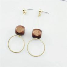 Free shipping Traditional natural wood round geometric fashion women stud earrings South Korea temperament contracted