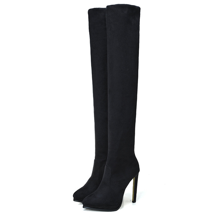 Brand Over The Knee Long Boot Shoes High Heel Kid Suede Pointed Toe Slim Sexy Extreme Thigh Women Boots Shoes Black CN-A0005 high heel real leather pointy suede slim thigh women boots stretch velvet over the knee sexy extreme stiletto shoes sheepskin