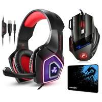 Hunterspider V1 Gaming Headset Stereo Heaphone With Mic 7 LED Light for PS4 PC+7 Buttons 5500DPI Gaming Mouse+Gaming Mouse Pad