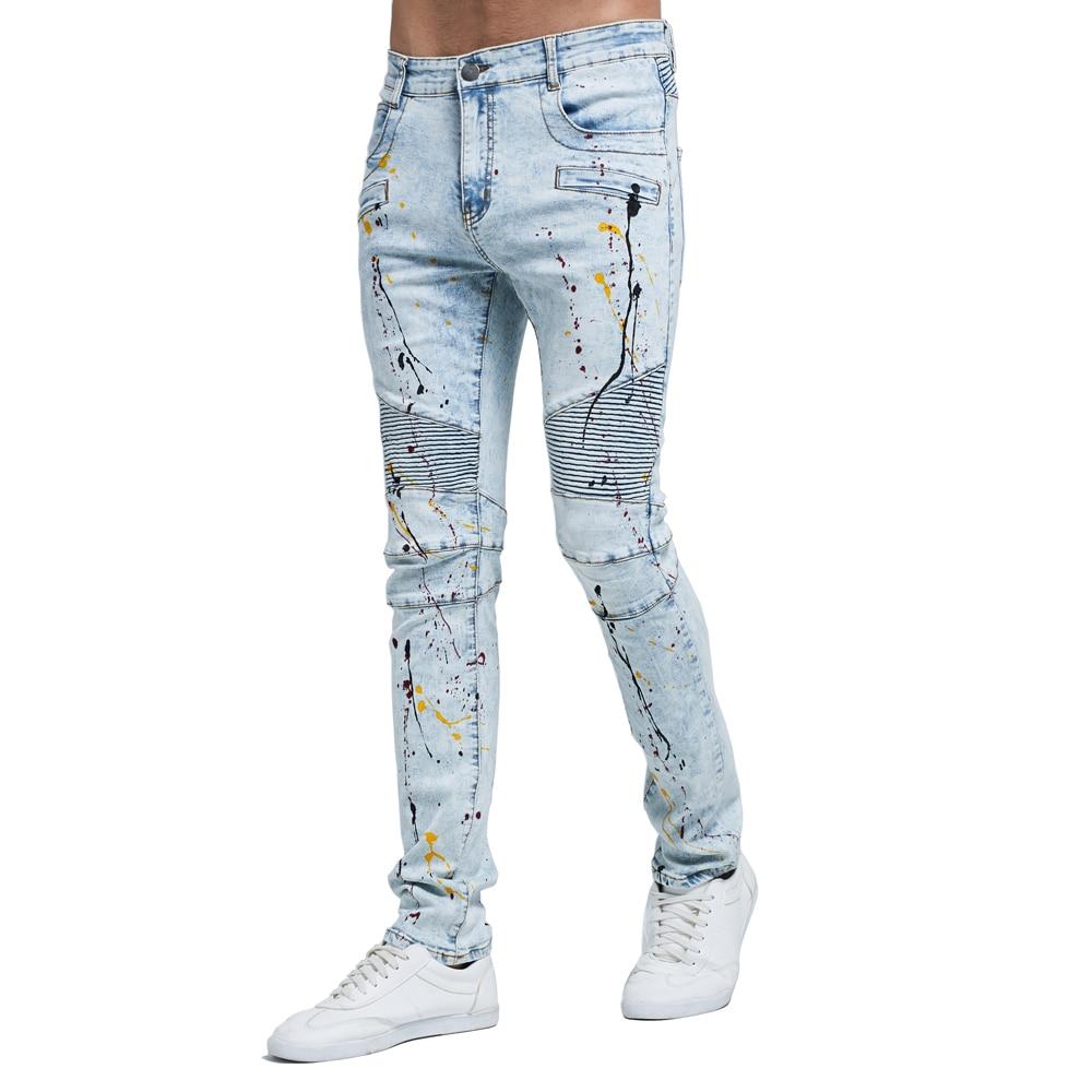 2017 Men Fashion Biker Jeans New Design Strech Light Blue Skinny Jeans H0114