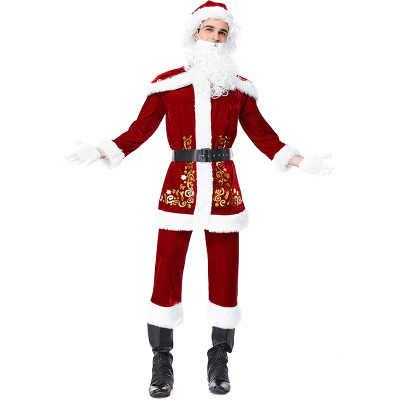 e8e0141f9225f ... Christmas Costumes Santa Claus For Adults Red Velvet Christmas Clothes  Santa Claus Costume Luxury Suit Xmas
