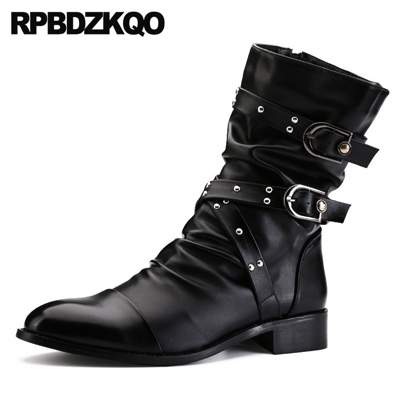 metalic military punk motorcycle runway embellished stud italian combat rivet black shoes ankle fur rock mens winter boots warm stud high top flat booties metalic sneakers rock ankle shoes winter men boots with fur brown rivet punk black zipper trainer