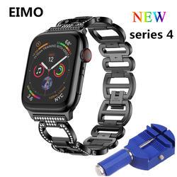 Нержавеющаясталь ремешок для Apple watch группа 4 44 мм 40 мм Diamond Корреа 42 мм 38 мм ремешок iwatch 4 3 2 1 браслет наручный ремень