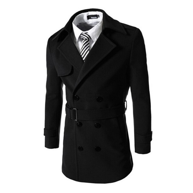 Для мужчин верхняя одежда Полушерстянная куртка двубортная модель Тренч ветровка зимняя куртка Для мужчин