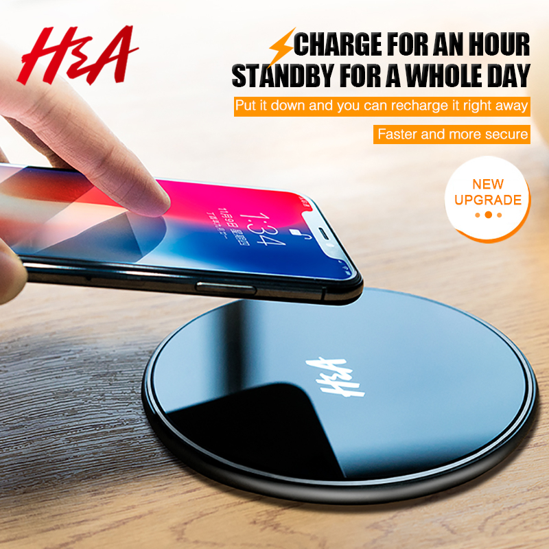 H&A Glass Qi Wireless Charger For iPhone X 8 Plus Desktop Fast Wireless Charging Pad For Samsung Galaxy Note 8 S9 S8 S7 S6 Edge
