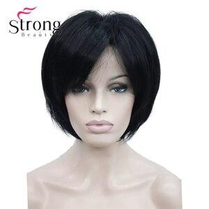 Image 5 - StrongBeauty peluca sintética de capas cortas, color rubio grueso, esponjoso, opciones de color