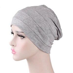 Image 4 - Женская индийская шляпа, новая мусульманская эластичная чалма, Кепка хиджаб, женская кепка для выпадения волос, повязка на голову, химиотерапия, Арабская шапочка, аксессуары